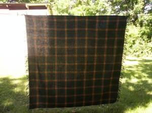 Green Plaid Wool Shawl