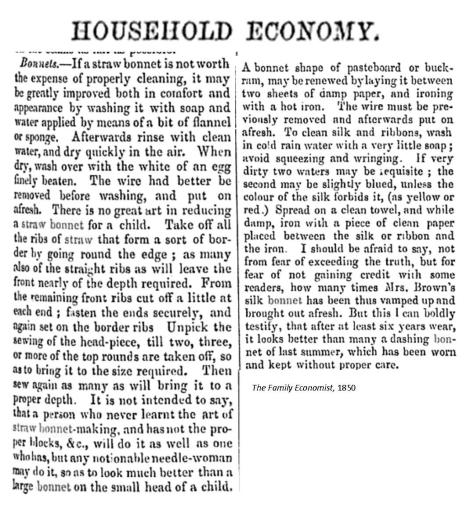Cleaning bonnet Family Economics 1861