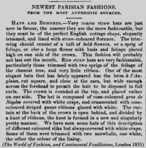 Coarse straw bonnets 1831