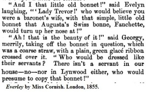 Coarse straw bonnets for servants 1855