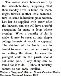 Coarse straw bonnets for the poor 1832