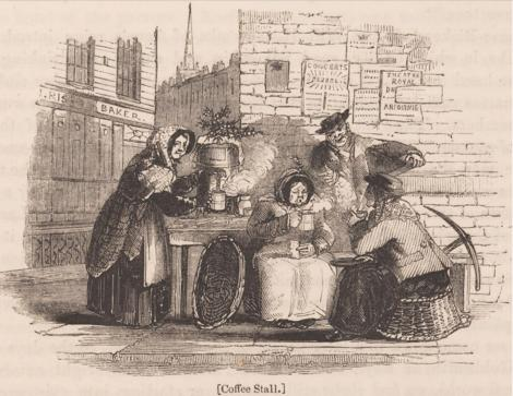 Coffee stall,  from Charles Knight's London, vol.4, 1843